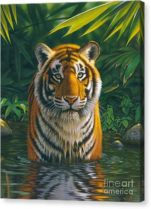 Danger Canvas Print - Tiger Pool by MGL Studio - Chris Hiett