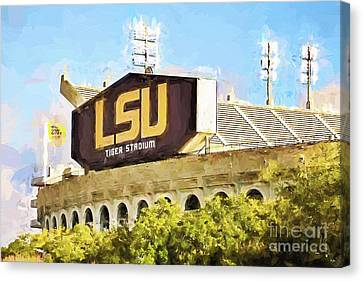 The Tiger Canvas Print - Tiger Stadium - Bw by Scott Pellegrin