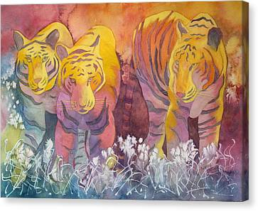 Canvas Print featuring the painting Tiger Trio by Nancy Jolley