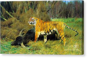 Tiger With Its Prey Canvas Print by Pg Reproductions
