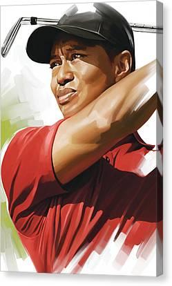 Tiger Woods Artwork Canvas Print by Sheraz A