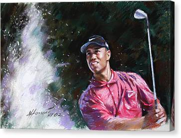 Canvas Print featuring the drawing Tiger Woods  by Viola El