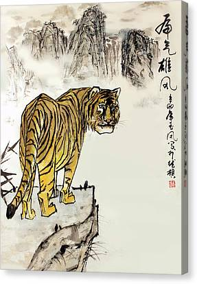 Canvas Print featuring the painting Tiger by Yufeng Wang