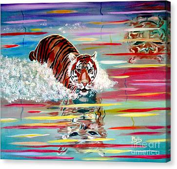 Canvas Print featuring the painting Tigers Crossing by Phyllis Kaltenbach
