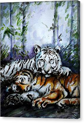 Canvas Print featuring the painting Tigers-mother And Child by Harsh Malik