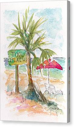 Tiki Beach Grand Cayman Canvas Print by Pat Katz