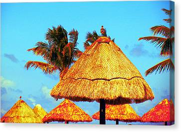 Canvas Print featuring the photograph Tiki Huts by J Anthony