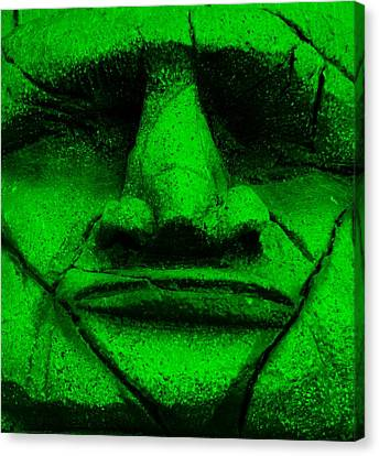 Tiki Mask Green Canvas Print by Rob Hans