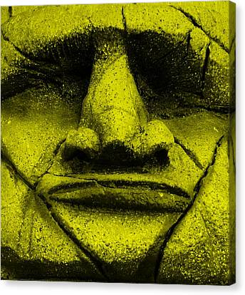 Tiki Mask Yellow Canvas Print by Rob Hans