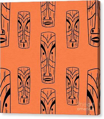 Tiki On Orange Pillow Canvas Print