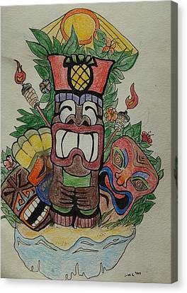 Tiki Canvas Print - Tiki Time by Lorri Lanig
