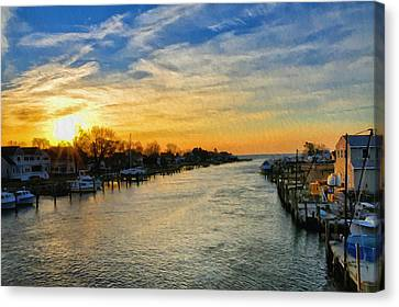 Tilghman Narrows At Sunrise Canvas Print by Bill Cannon