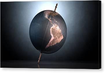 Tilted World Globe Canvas Print