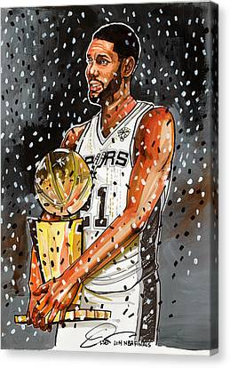 Hoops Canvas Print - Tim Duncan Nba Champion by Dave Olsen