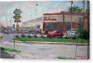 Tim Hortons By Niagara Falls Blvd Where I Have My Coffee Canvas Print by Ylli Haruni