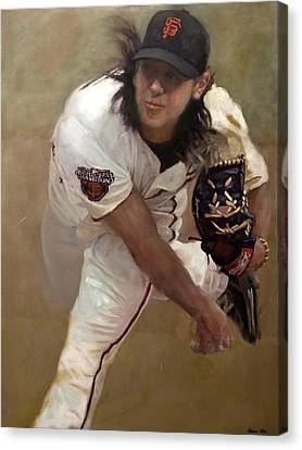 San Francisco Giants Canvas Print - Tim Lincecum Changeup by Darren Kerr
