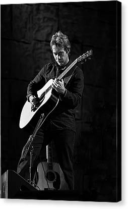 Tim Reynolds On Guitar Black And White Canvas Print by Jennifer Rondinelli Reilly - Fine Art Photography