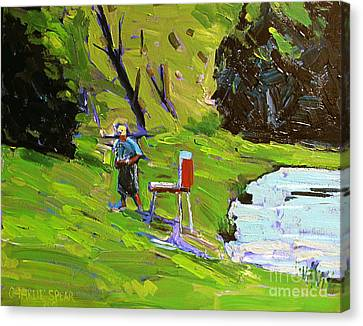 Tim The Plein Air Painter After Monet Canvas Print by Charlie Spear