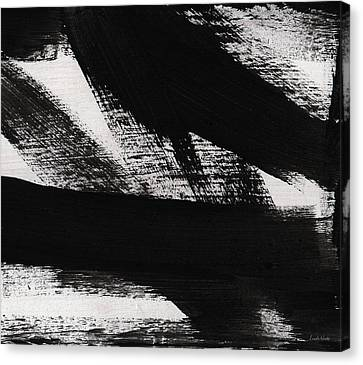 Timber 2- Horizontal Abstract Black And White Painting Canvas Print by Linda Woods