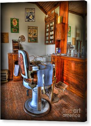 Barberchairs Canvas Print - Time For A Cut And Shave - Barber  by Lee Dos Santos