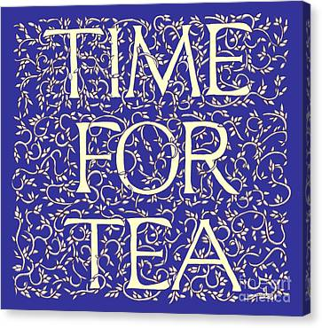 Canvas Print featuring the drawing Time For Tea Royal Blue by Donna Huntriss