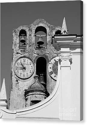 Scenes Of Italy Canvas Print - Time For The Bells Bw by Mel Steinhauer