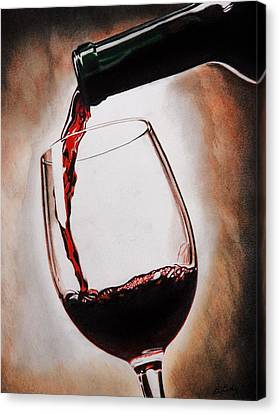 Pouring Wine Canvas Print - Time For Wine by Brian Broadway