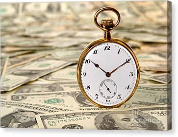 Banknotes Canvas Print - Time Is Over Money by Olivier Le Queinec