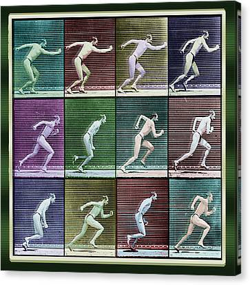 Time Lapse Motion Study Man Running Color Canvas Print