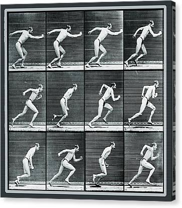 Time Lapse Motion Study Man Running Monochrome Canvas Print