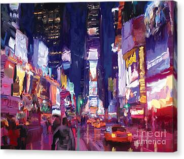 Amy's Time Square In The Rain Canvas Print by Tim Gilliland