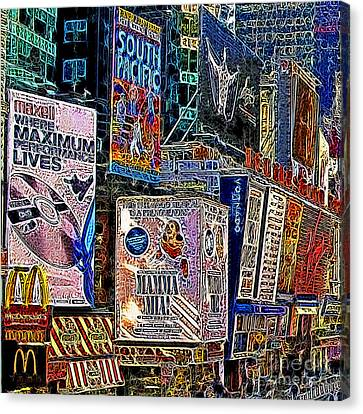 Time Square New York 20130503v9 Square Canvas Print by Wingsdomain Art and Photography