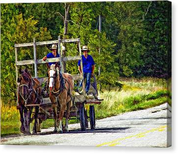 Impasto Horses Canvas Print - Time Travelers Impasto by Steve Harrington