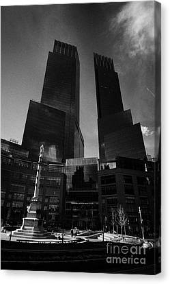 Time Warner Center And Statue Of Christopher Columbus On Columbus Circle New York City Canvas Print by Joe Fox