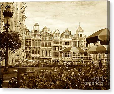 European Cafes Canvas Print - Timeless Grand Place by Carol Groenen