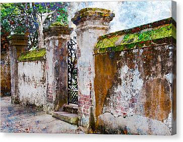 Canvas Print featuring the photograph Brick Wall Charleston South Carolina by Vizual Studio