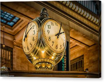 Canvas Print featuring the photograph Timepiece At Grand Central Station New York by Linda Karlin