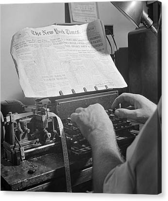 Times News Sent By Morse Code To Ships Canvas Print by Science Source