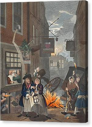 Times Of Day, Night, Illustration Canvas Print by William Hogarth