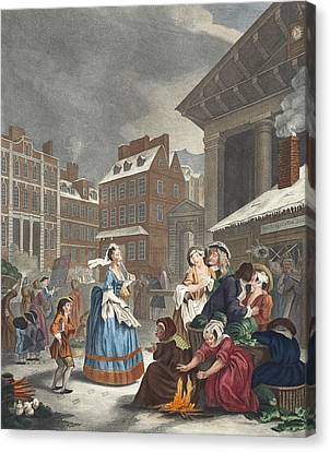 Times Of The Day Morning, Illustration Canvas Print by William Hogarth