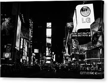 Times Square At Night New York City Usa Manhattan Canvas Print by Joe Fox