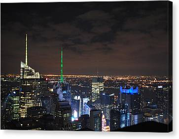 Times Square At Night Canvas Print by Robert  Moss