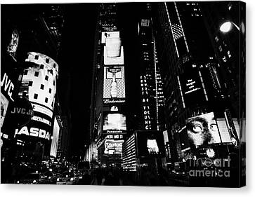 Times Square In Nighttime Manhattan New York City Canvas Print by Joe Fox