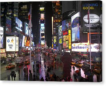 Times Square Canvas Print by Mike McGlothlen