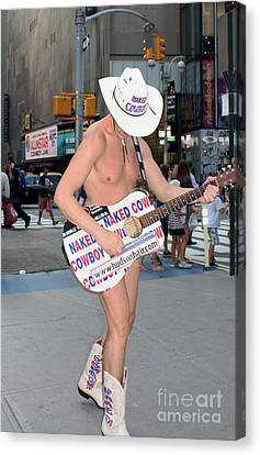 Times Square Naked Cowboy Canvas Print by John Telfer