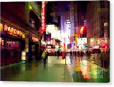 Times Square New York - Nanking Restaurant Canvas Print by Miriam Danar
