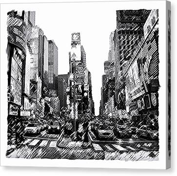 Times Square   New York City Canvas Print by Iconic Images Art Gallery David Pucciarelli