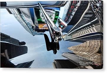 Times Square On The Hood Of A Packard Canvas Print by Nishanth Gopinathan
