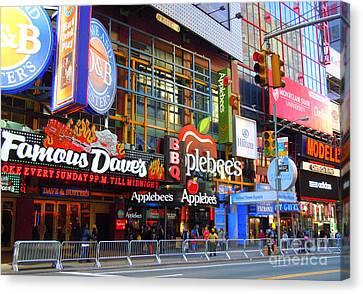Times Square Razzle Dazzle Canvas Print by Anne Gordon
