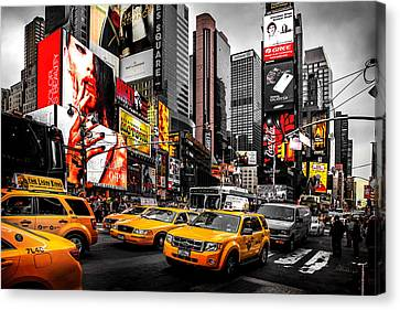 Black And Yellow Canvas Print - Times Square Taxis by Az Jackson